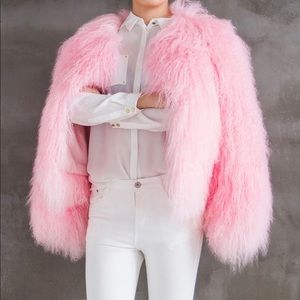 Jackets & Coats - Pink Mongolian Fur Coat
